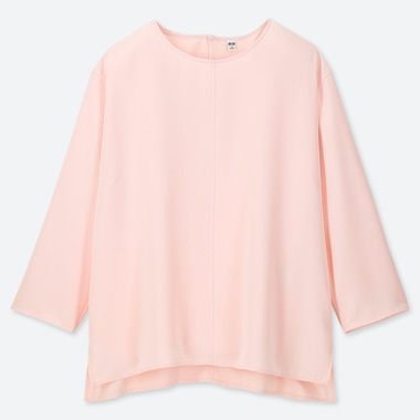 WOMEN DRAPE 3/4 SLEEVE BLOUSE, PINK, medium
