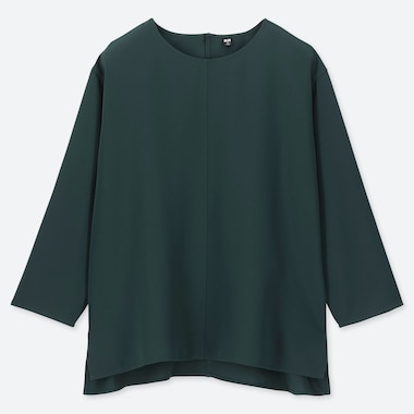 e9828fd821 WOMEN DRAPE 3/4 SLEEVE BLOUSE, DARK GREEN, medium