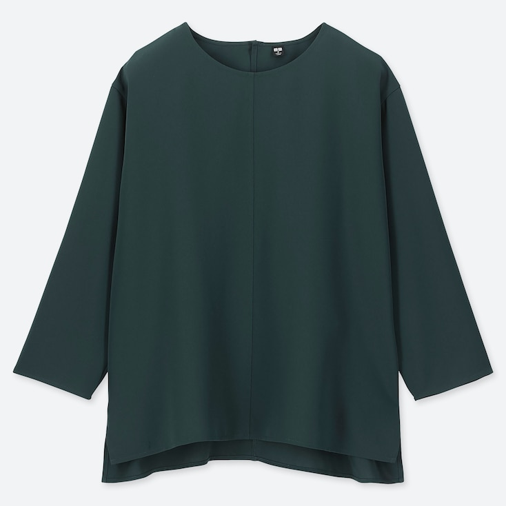 WOMEN DRAPE 3/4 SLEEVE BLOUSE, DARK GREEN, large