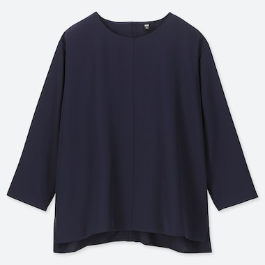 WOMEN DRAPE 3/4 SLEEVE BLOUSE, NAVY, medium
