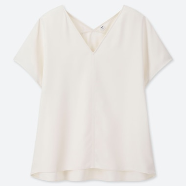 WOMEN DRAPE V-NECK SHORT-SLEEVE BLOUSE, OFF WHITE, medium