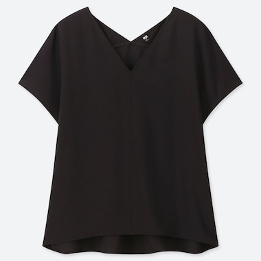 WOMEN DRAPE V-NECK SHORT-SLEEVE BLOUSE, BLACK, medium