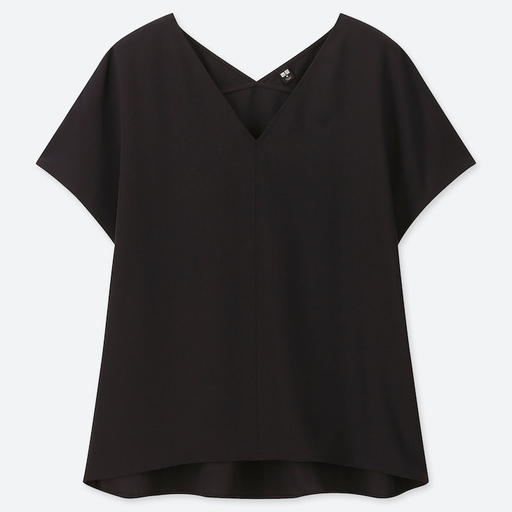 WOMEN DRAPE V-NECK SHORT-SLEEVE BLOUSE, BLACK, large