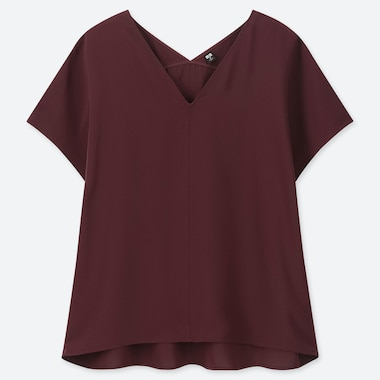 WOMEN DRAPE V-NECK SHORT-SLEEVE BLOUSE, WINE, medium