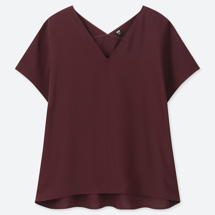 WOMEN DRAPE V-NECK SHORT-SLEEVE BLOUSE, WINE, large