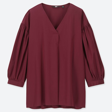 WOMEN COTTON V-NECK 3/4 VOLUME SLEEVE BLOUSE, RED, medium