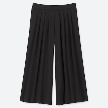 WOMEN CREPE JERSEY FLARED WIDE LEG CROPPED FIT TROUSERS