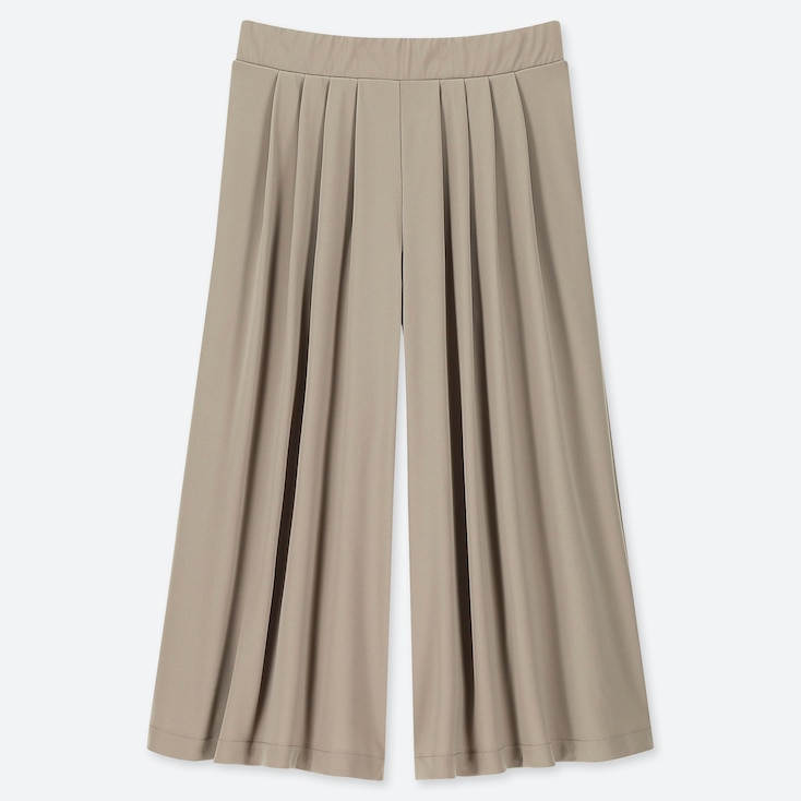 WOMEN CREPE JERSEY FLARE WIDE CROPPED PANTS, BEIGE, large