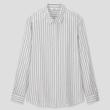 WOMEN RAYON STRIPED LONG-SLEEVE BLOUSE, OFF WHITE, medium