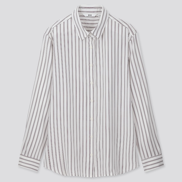 WOMEN RAYON STRIPED LONG-SLEEVE BLOUSE, OFF WHITE, large