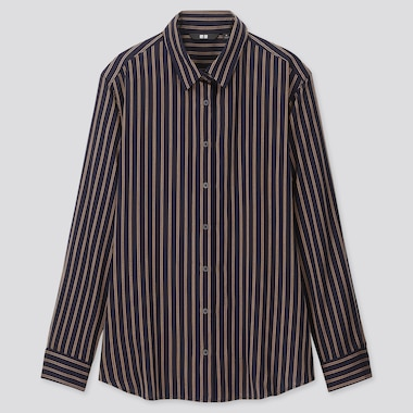 WOMEN RAYON STRIPED LONG-SLEEVE BLOUSE, NAVY, medium