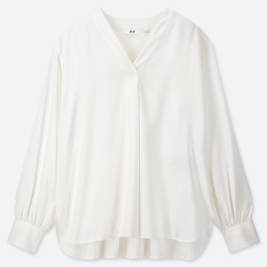 WOMEN RAYON V-NECK LONG-SLEEVE BLOUSE, WHITE, medium