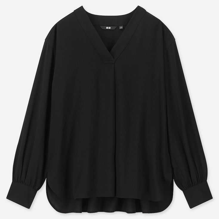 WOMEN RAYON V-NECK LONG-SLEEVE BLOUSE, BLACK, large