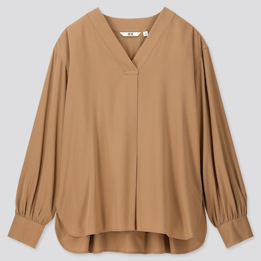 WOMEN RAYON V NECK LONG SLEEVED BLOUSE