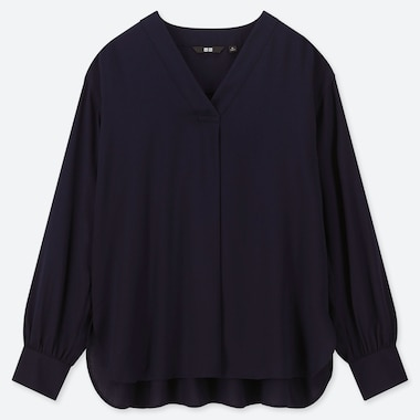 WOMEN RAYON V-NECK LONG-SLEEVE BLOUSE, NAVY, medium