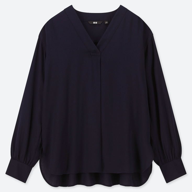 WOMEN RAYON V-NECK LONG-SLEEVE BLOUSE, NAVY, large