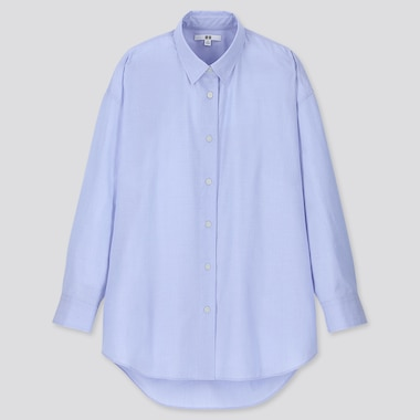 WOMEN EXTRA FINE COTTON OVERSIZED LONG-SLEEVE SHIRT, LIGHT BLUE, medium