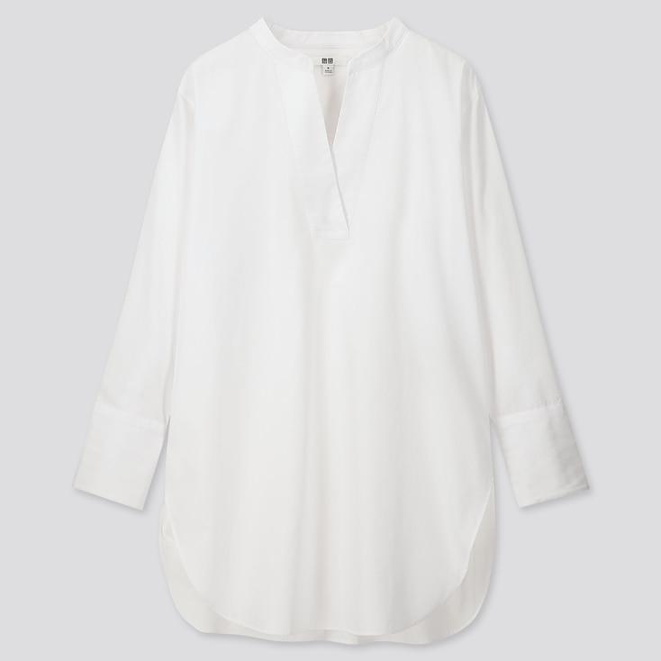 WOMEN EXTRA FINE COTTON V-NECK LONG-SLEEVE SHIRT, WHITE, large