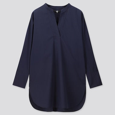 WOMEN EXTRA FINE COTTON V-NECK LONG-SLEEVE SHIRT, NAVY, medium