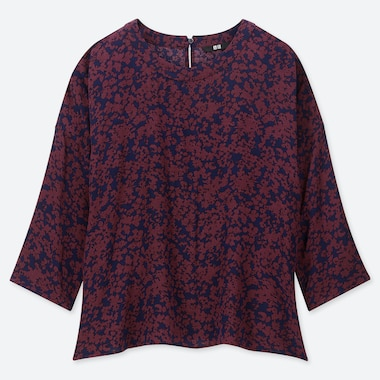 WOMEN PRINTED 3/4 SLEEVE BLOUSE, WINE, medium