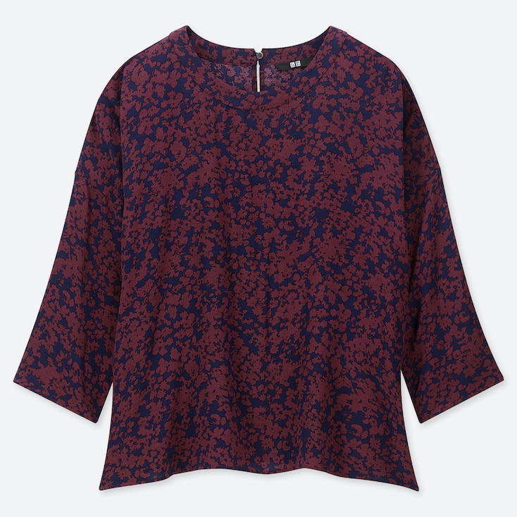 WOMEN PRINTED 3/4 SLEEVE BLOUSE, WINE, large