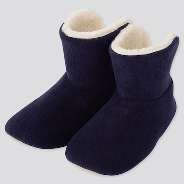 WOMEN CORDUROY FLEECE SLIPPERS, NAVY, medium