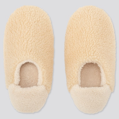 WOMEN FLEECE SLIPPERS, OFF WHITE, medium