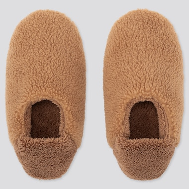 WOMEN FLEECE SLIPPERS, BROWN, medium