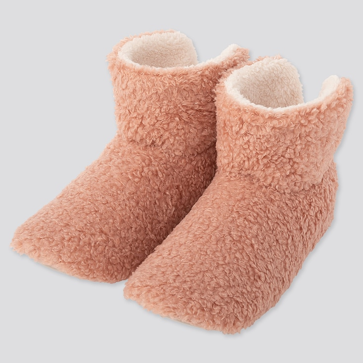 Women Curly Fleece Slippers, Pink, Large
