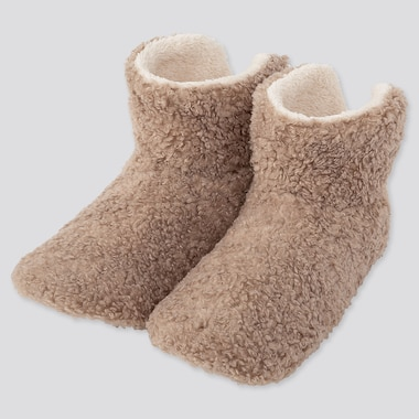 WOMEN CURLY FLEECE SLIPPERS, BEIGE, medium