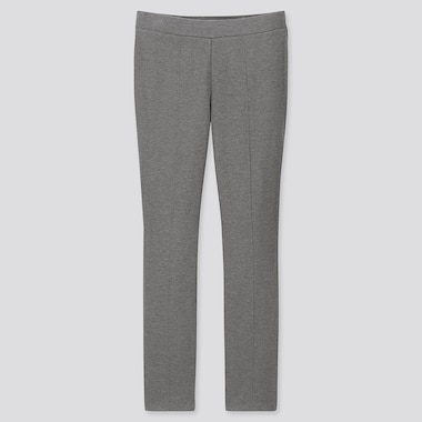 WOMEN HEATTECH PONTE LEGGINGS PANTS, GRAY, medium