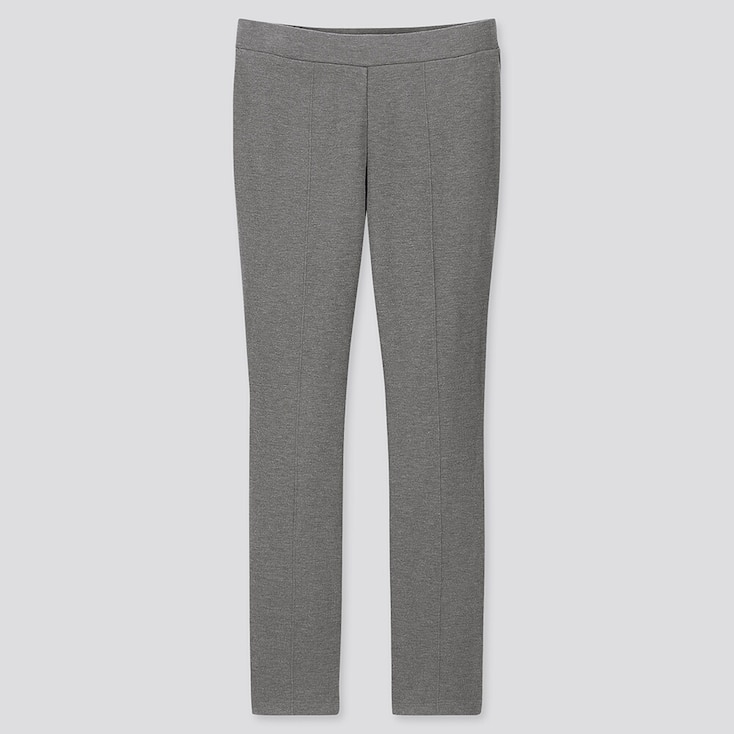 WOMEN HEATTECH PONTE LEGGINGS PANTS, GRAY, large