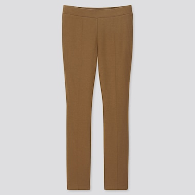 WOMEN HEATTECH PONTE LEGGINGS PANTS, BROWN, medium