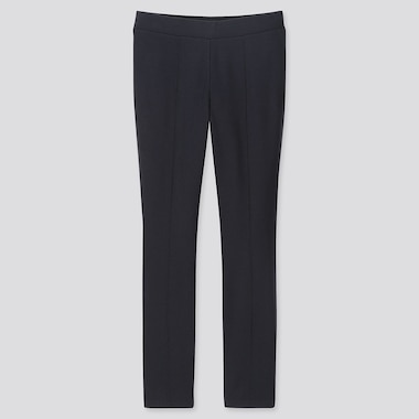 WOMEN HEATTECH PONTE LEGGINGS PANTS, NAVY, medium