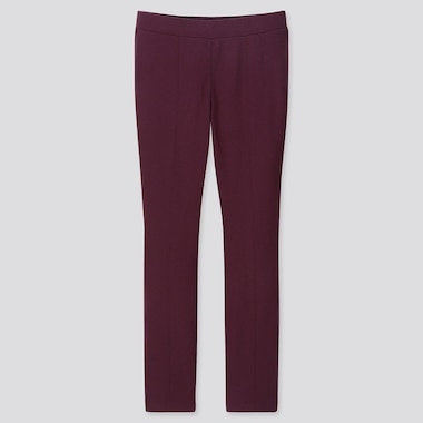 WOMEN HEATTECH PONTE LEGGINGS PANTS, PURPLE, medium
