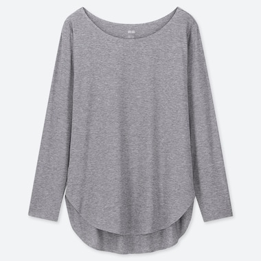 WOMEN AIRism SEAMLESS LONG-SLEEVE T-SHIRT, GRAY, medium