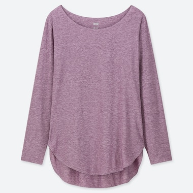 WOMEN AIRism SEAMLESS LONG-SLEEVE T-SHIRT, PURPLE, medium