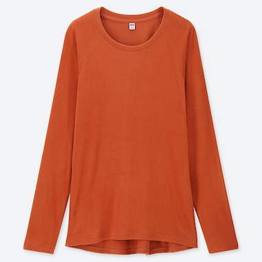WOMEN HEATTECH STRETCH FLEECE CREW NECK LONG-SLEEVE T-SHIRT, ORANGE, medium