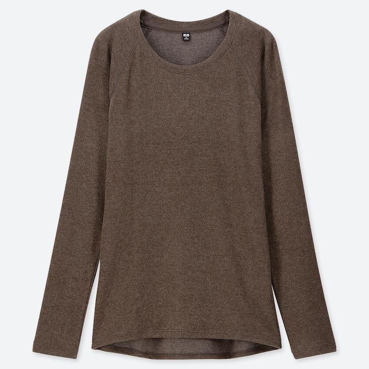 Women Heattech Stretch Fleece Crew Neck Long-sleeve T-shirt, Dark Brown, Large