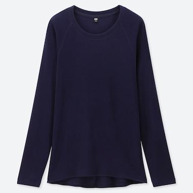 Women Heattech Stretch Fleece Crew Neck Long-Sleeve T-Shirt, Navy, Medium
