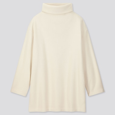 WOMEN KNITTED FLEECE HIGH-NECK LONG-SLEEVE TUNIC, OFF WHITE, medium