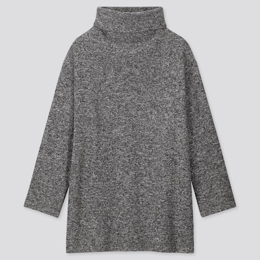 WOMEN KNITTED FLEECE HIGH-NECK LONG-SLEEVE TUNIC, DARK GRAY, medium