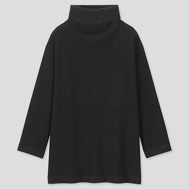 WOMEN KNITTED FLEECE HIGH-NECK LONG-SLEEVE TUNIC, BLACK, medium