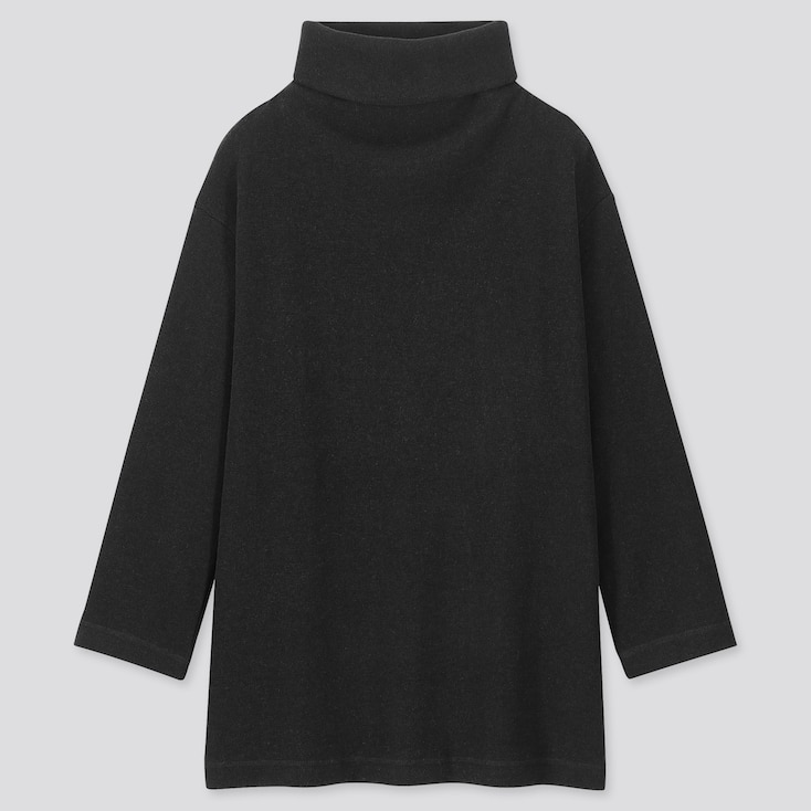 WOMEN KNITTED FLEECE HIGH-NECK LONG-SLEEVE TUNIC, BLACK, large