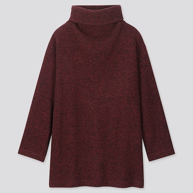 WOMEN KNITTED FLEECE HIGH-NECK LONG-SLEEVE TUNIC, WINE, medium