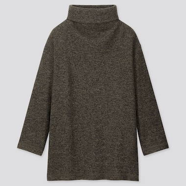 WOMEN KNITTED FLEECE HIGH-NECK LONG-SLEEVE TUNIC, OLIVE, medium