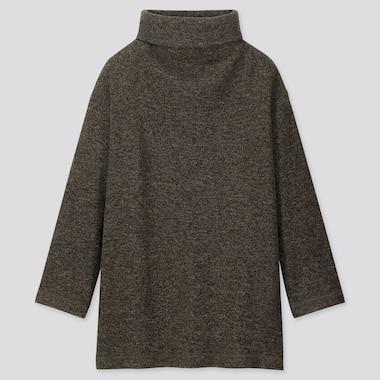 Women Knitted Fleece High-Neck Long-Sleeve Tunic, Olive, Medium