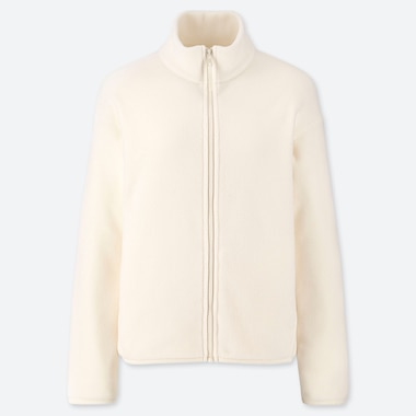 WOMEN FLEECE LONG-SLEEVE FULL-ZIP JACKET, OFF WHITE, medium