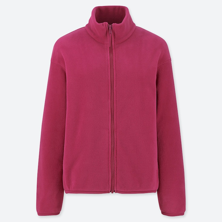 WOMEN FLEECE LONG-SLEEVE FULL-ZIP JACKET, PINK, large