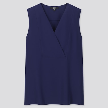 WOMEN DRAPE SLEEVELESS BLOUSE